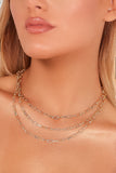 Gold 3 Layer Link Chain Necklace