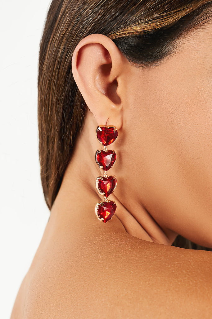 Gold and Red Heart Drop Earrings