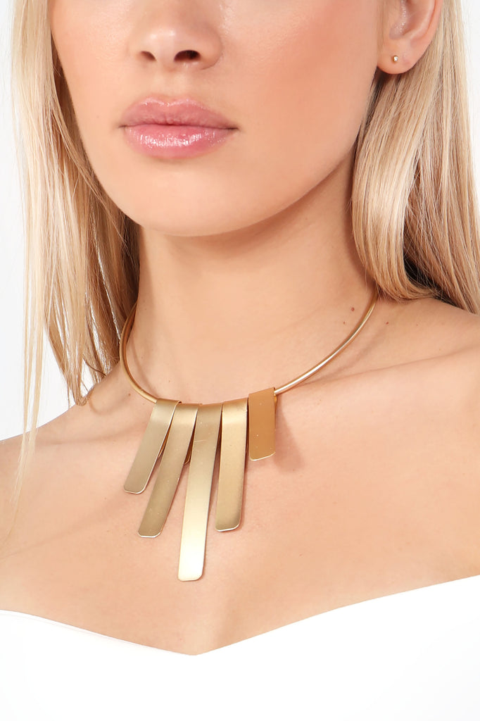 Gold Bar Torc Necklace