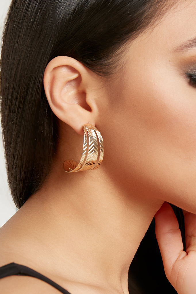 Gold Cut Out Hoop Earrings