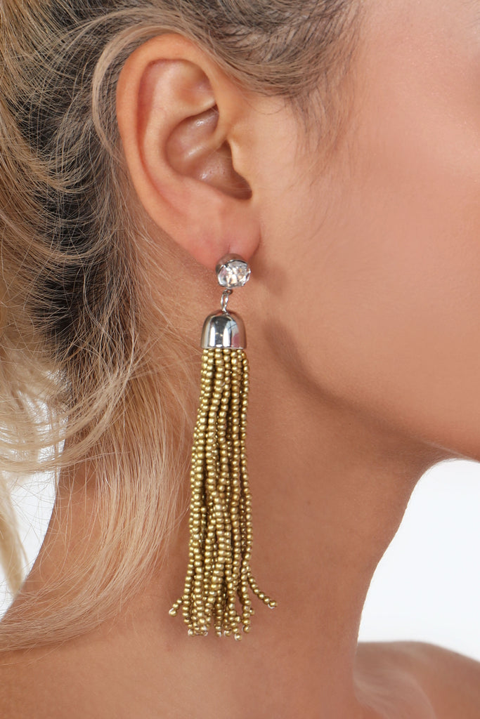 Gold Diamante Beaded Tassel Earrings