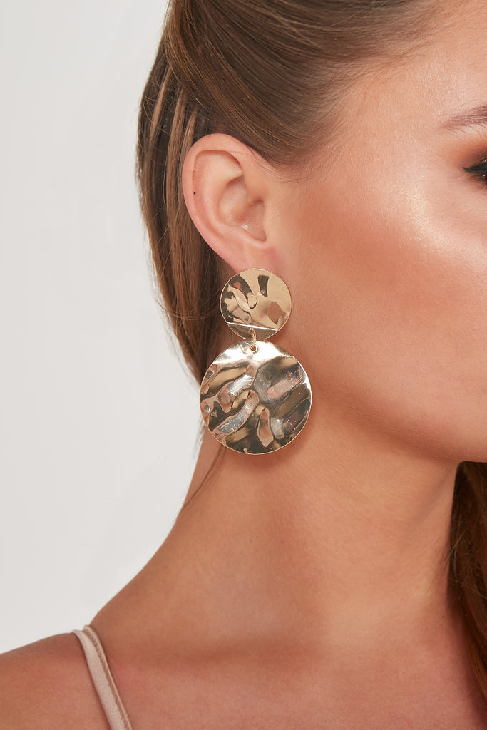 Gold Double Disc Earring