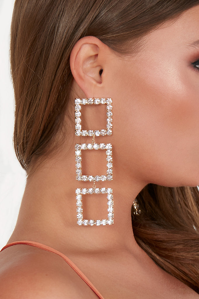 Gold Square Diamante Drop Earrings