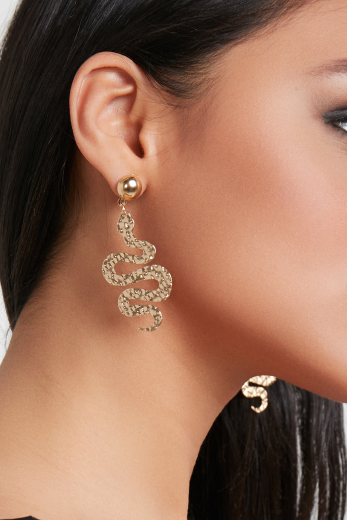 Gold Flat Snake Eye Earrings