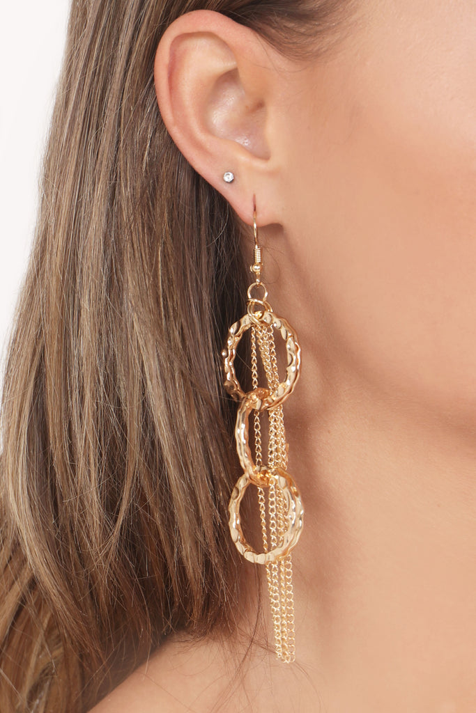 Gold Hoop & Chain Tassel Drop Earrings (768293994604)