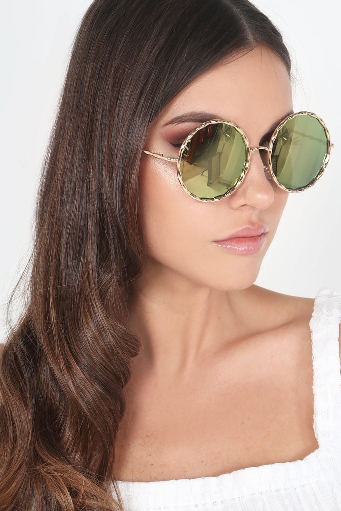 Gold Irridescent 90s Round Sunglasses
