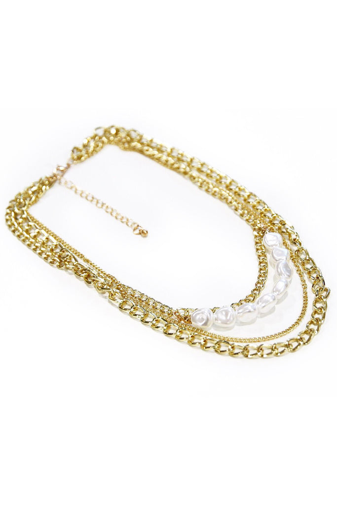 Gold Layered Chain and Pearl Necklace