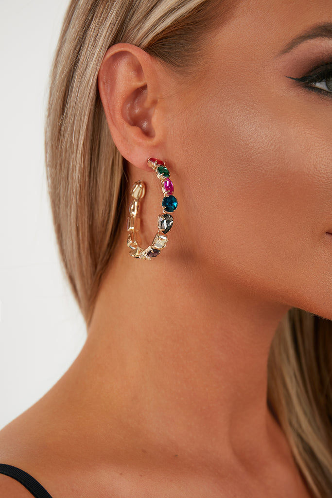 Gold Multi Gem Diamante Hoop Earrings