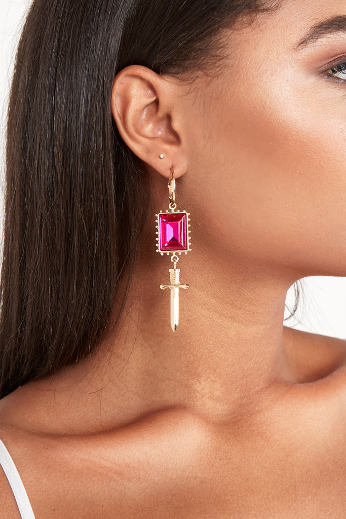 Gold Pink Jeweled Drop Earrings