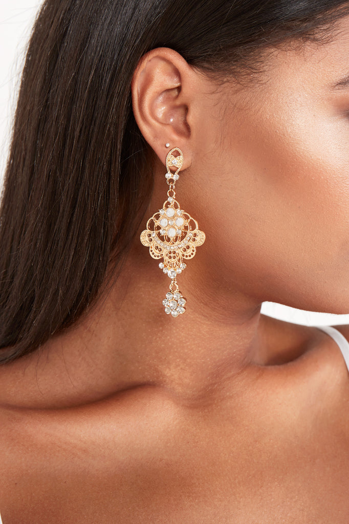 Gold Plated Statement Diamante Earrings