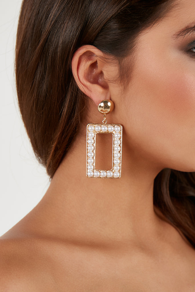 Gold Rectangle Pearl Statement Earrings (4343407247426)
