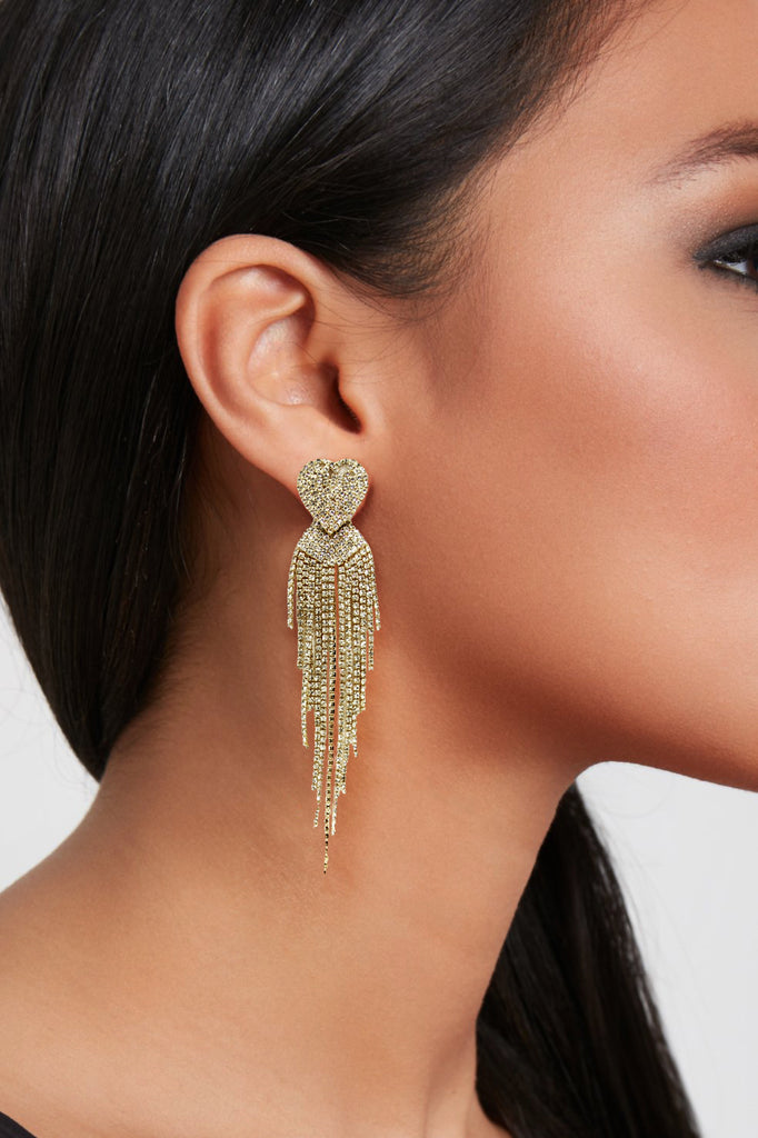 Gold Diamante Heart Tassel Earrings