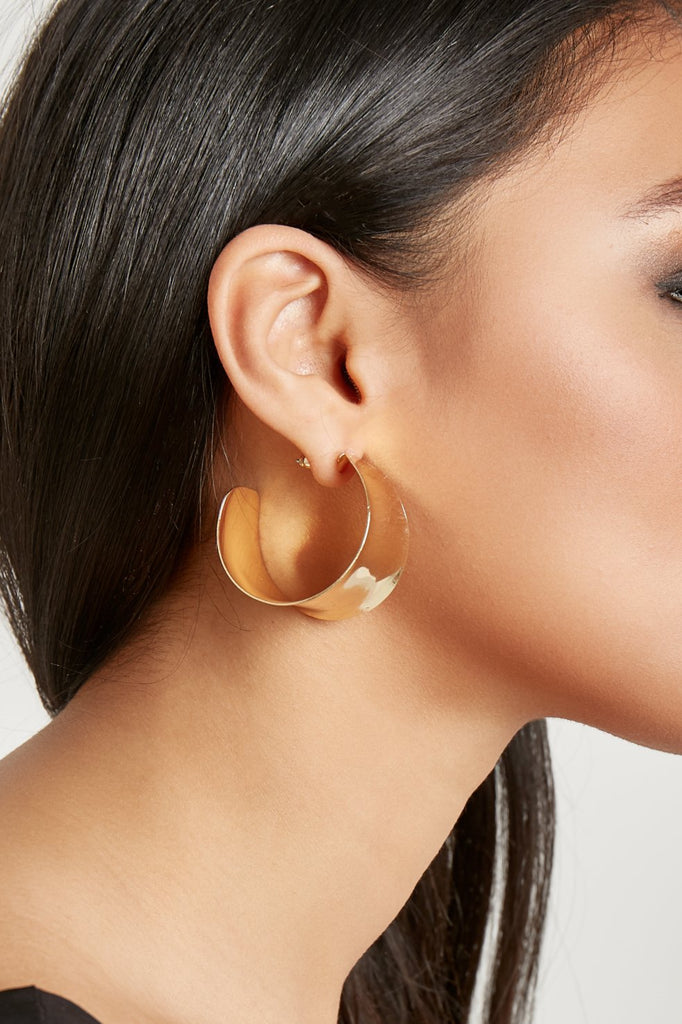 Gold Wide Hoop Earrings