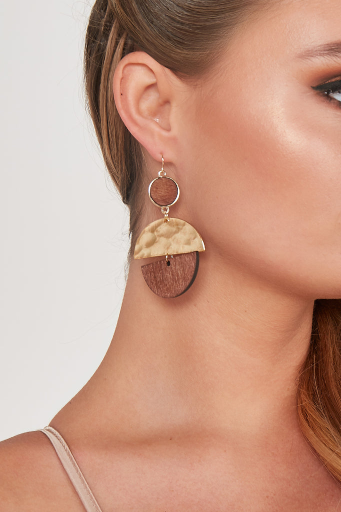 Gold & Wooden Circle Drop Earrings
