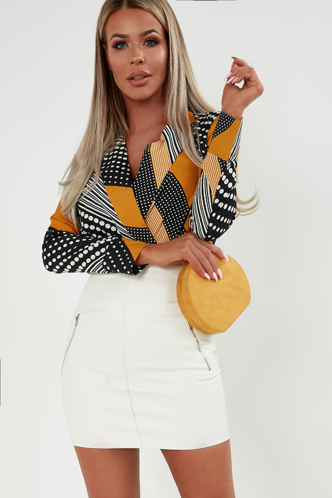 Goldie Mustard Spotted Striped Wrap Bodysuit