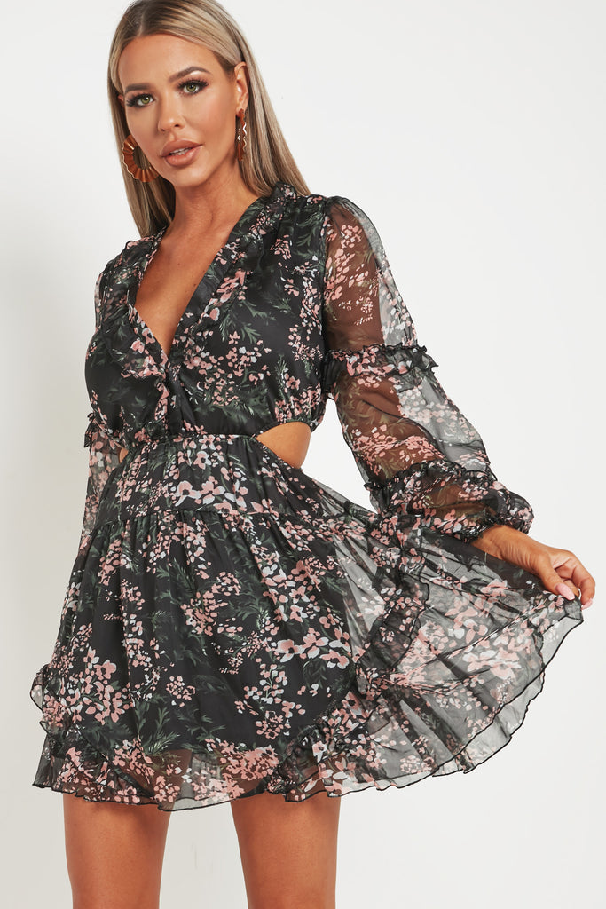 Goldy Black Floral Frill Dress