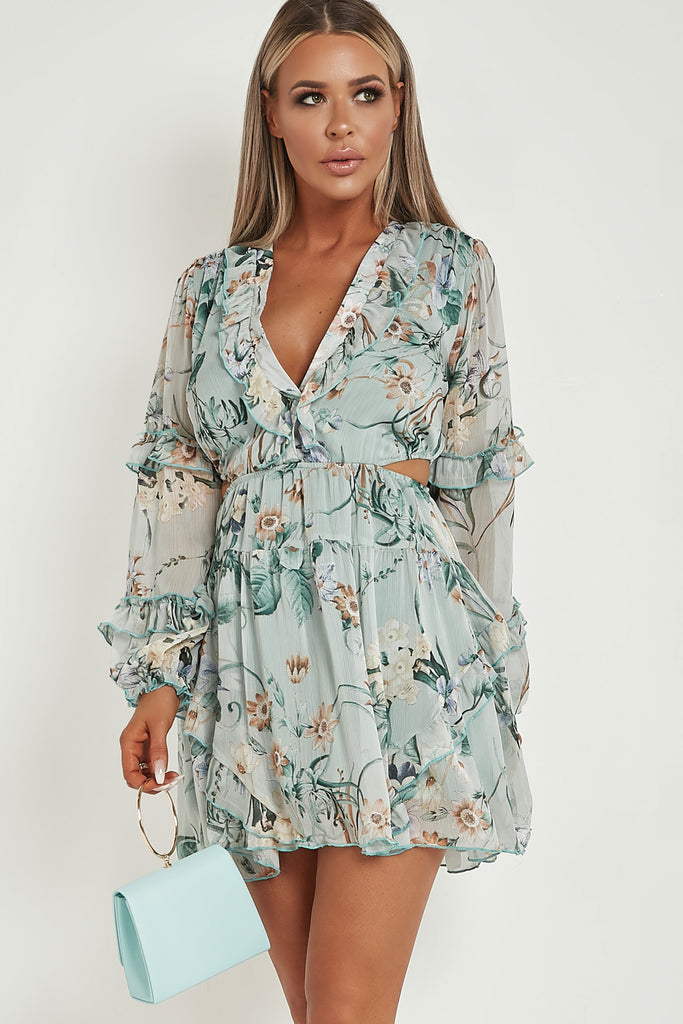 Goldy Mint Floral Frill Dress
