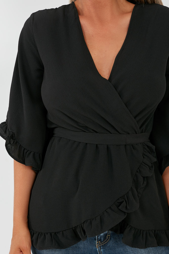 Grace Black Wrap Front Top (1996676005954)