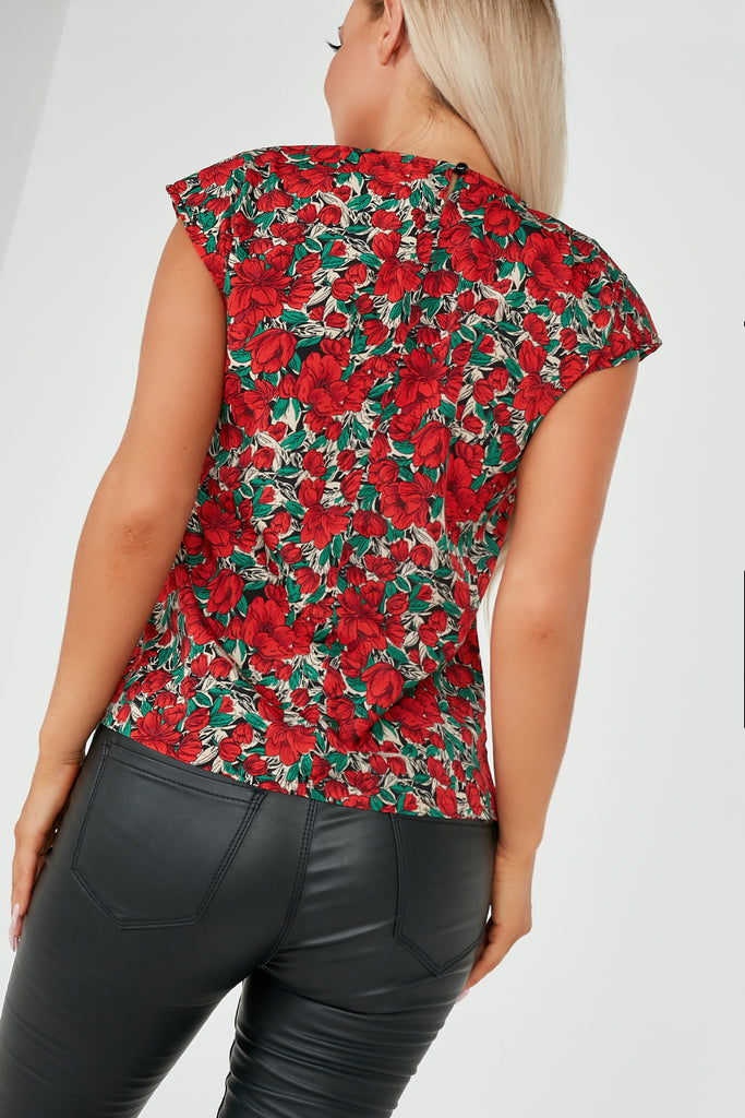 Grace Red Floral Sleeveless Padded Shoulder Top