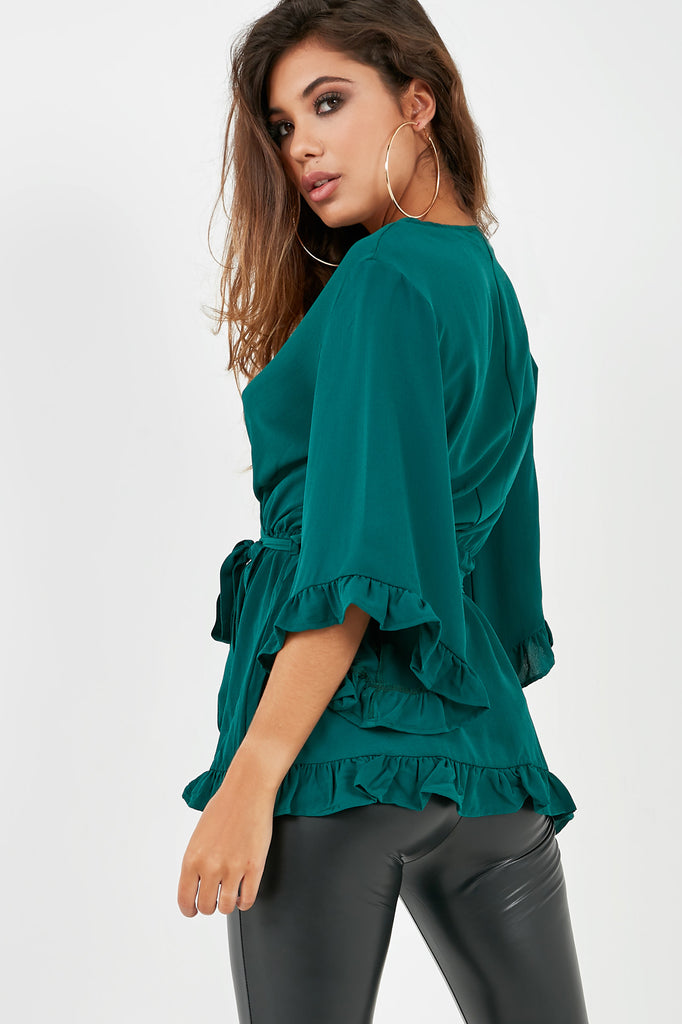 Grace Teal Wrap Front Top