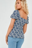 Gracie Blue Floral Milk Maid Top