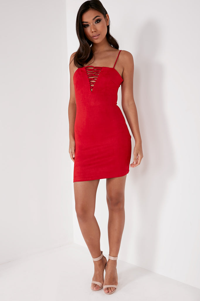 Gracie Red Suedette Cami Mini Dress
