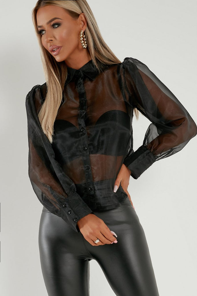 Graine Black Organza Mesh Shirt