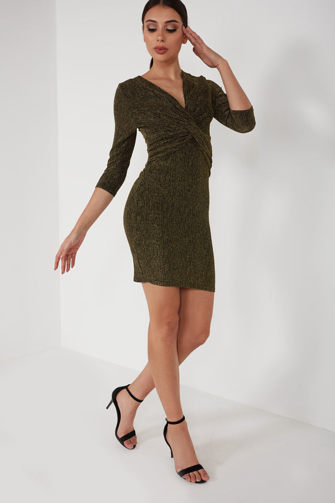 Grainne Gold Glitter Twist Front Dress (1654888857666)