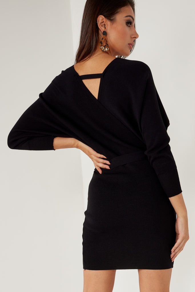 Greta Black Bat Wing Knit Dress