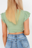Gretal Sage V Neck Ruched Crop Top