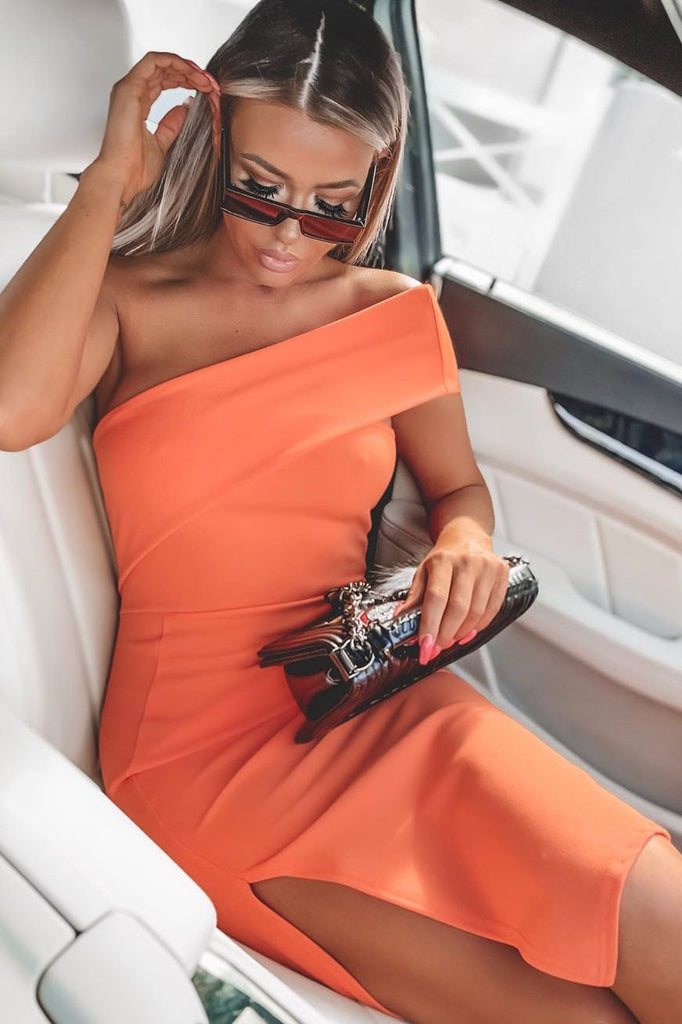 Gwen Orange One Shoulder Midi Dress