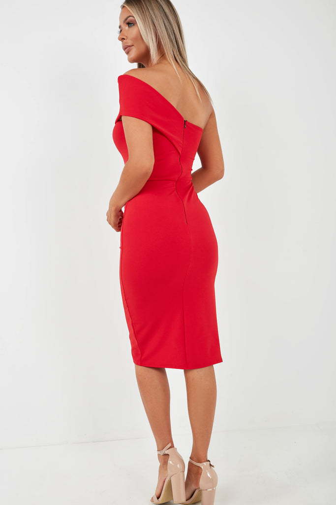 Gwen Red One Shoulder Midi Dress (2015372476482)