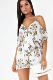 Gwen White Floral Playsuit