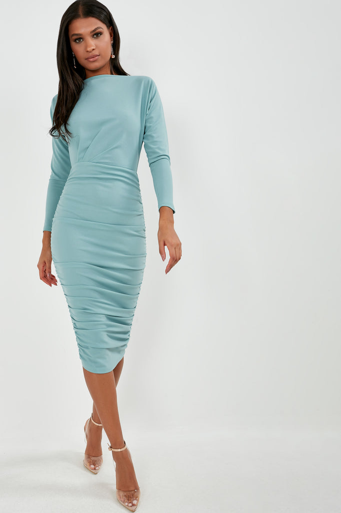 Gweneth Duck Egg Long Sleeve Ruched Dress (1818559348802)