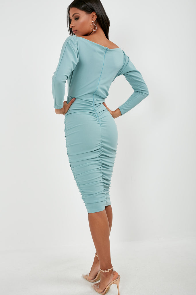Gweneth Duck Egg Long Sleeve Ruched Dress