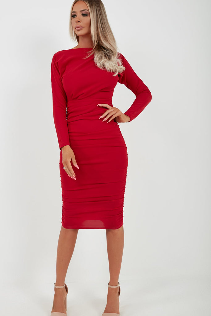 Gweneth Red Long Sleeve Ruched Dress (4165240717378)