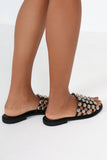 Gwenna Black Studded Leatherette Sliders