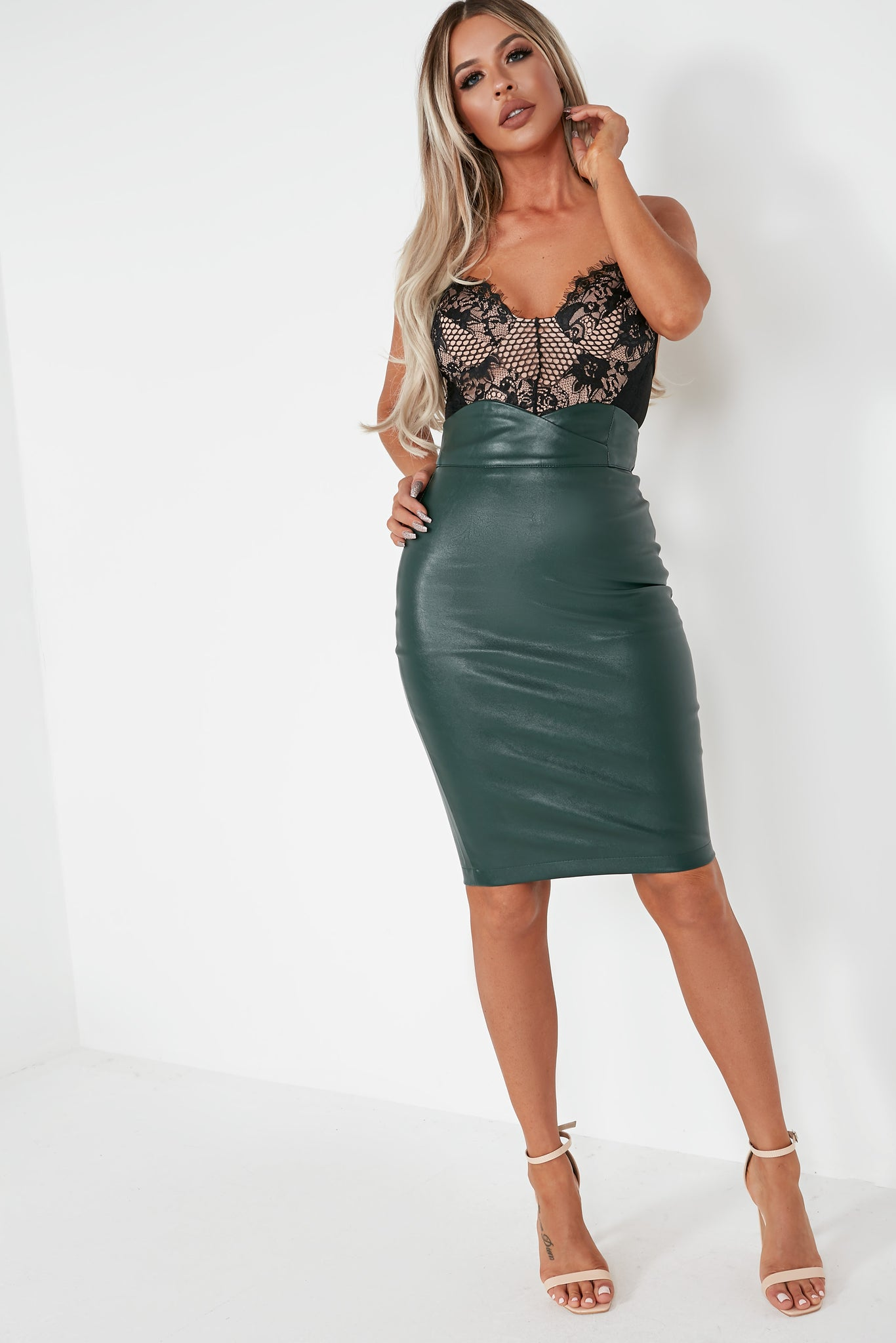 af624be1e9 Gya Green Faux Leather Pencil Skirt
