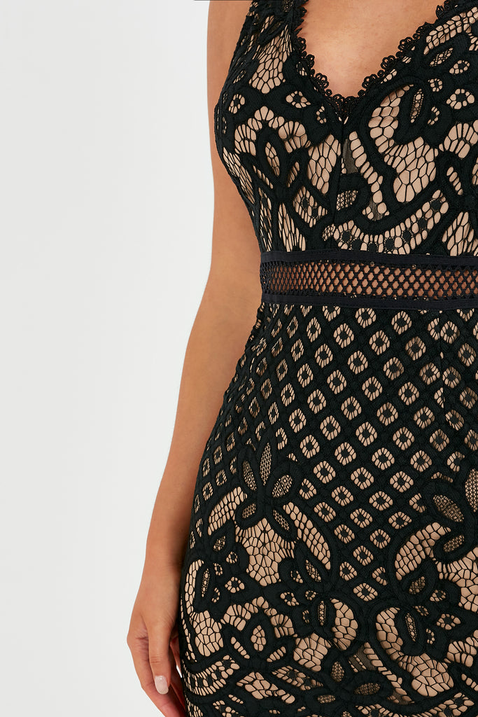 Gytha Black and Nude V Neck Lace Dress