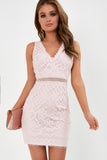 Gytha Light Pink V Neck Lace Dress