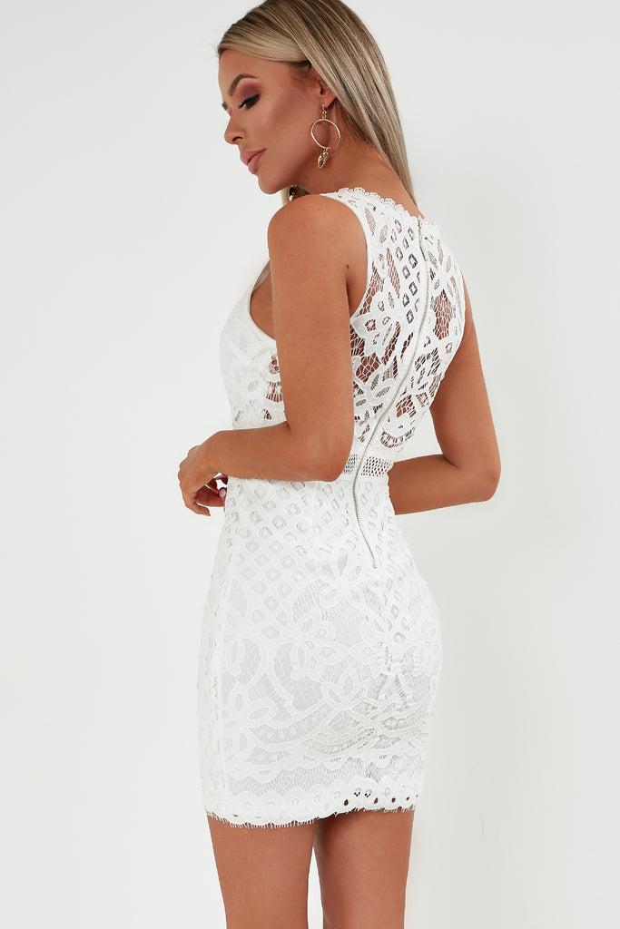 Gytha White V Neck Lace Dress