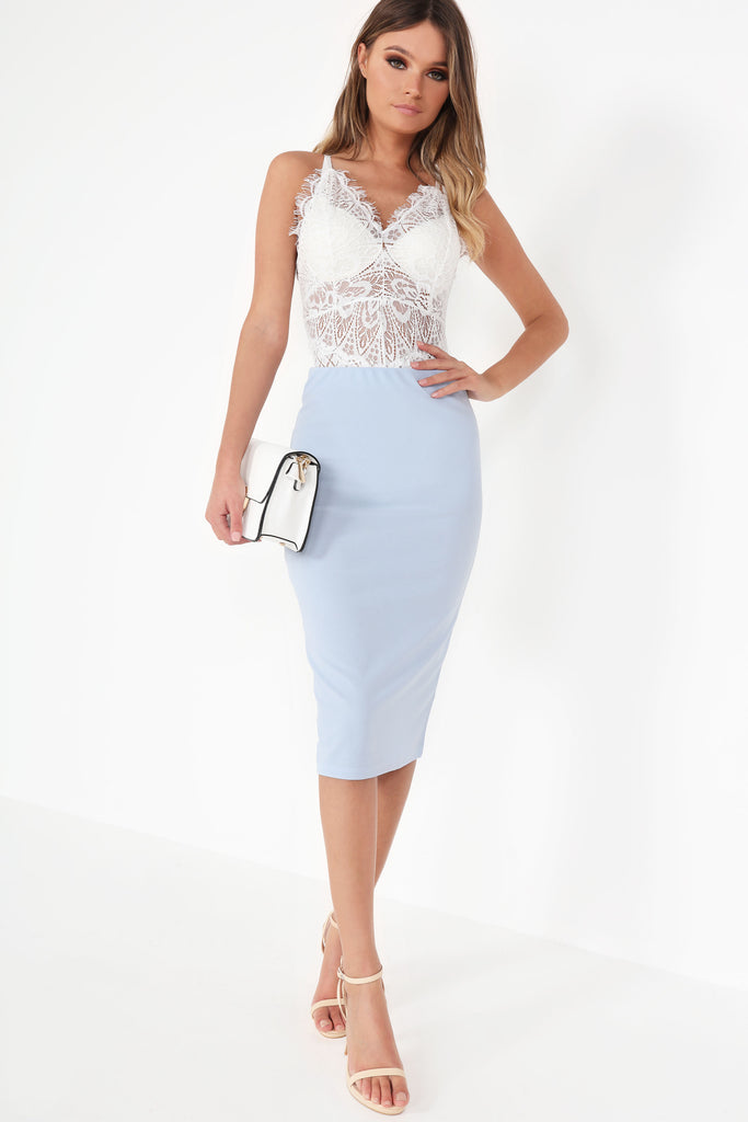 Hadyia Blue Midi Pencil Skirt (748651151468)