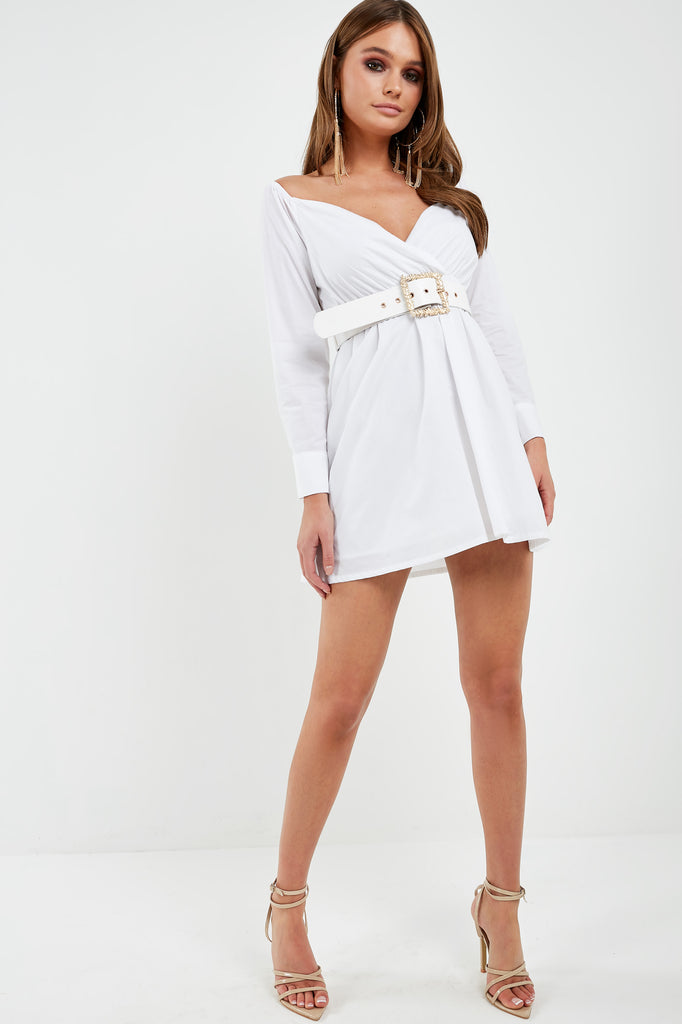 Hagen White Bardot Wrap Dress