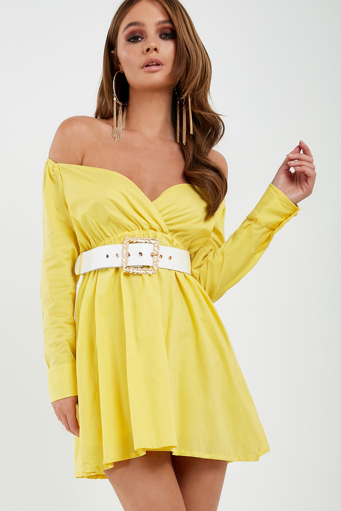Hagen Yellow Bardot Wrap Dress (1875327778882)