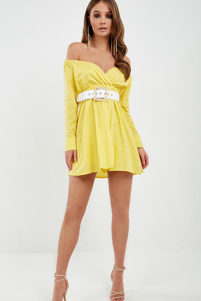 Hagen Yellow Bardot Wrap Dress