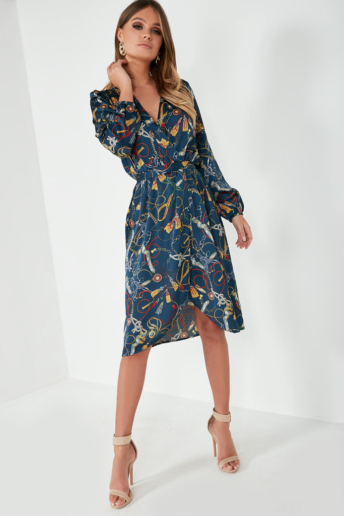 Hailey Black Chain Print Wrap Dress