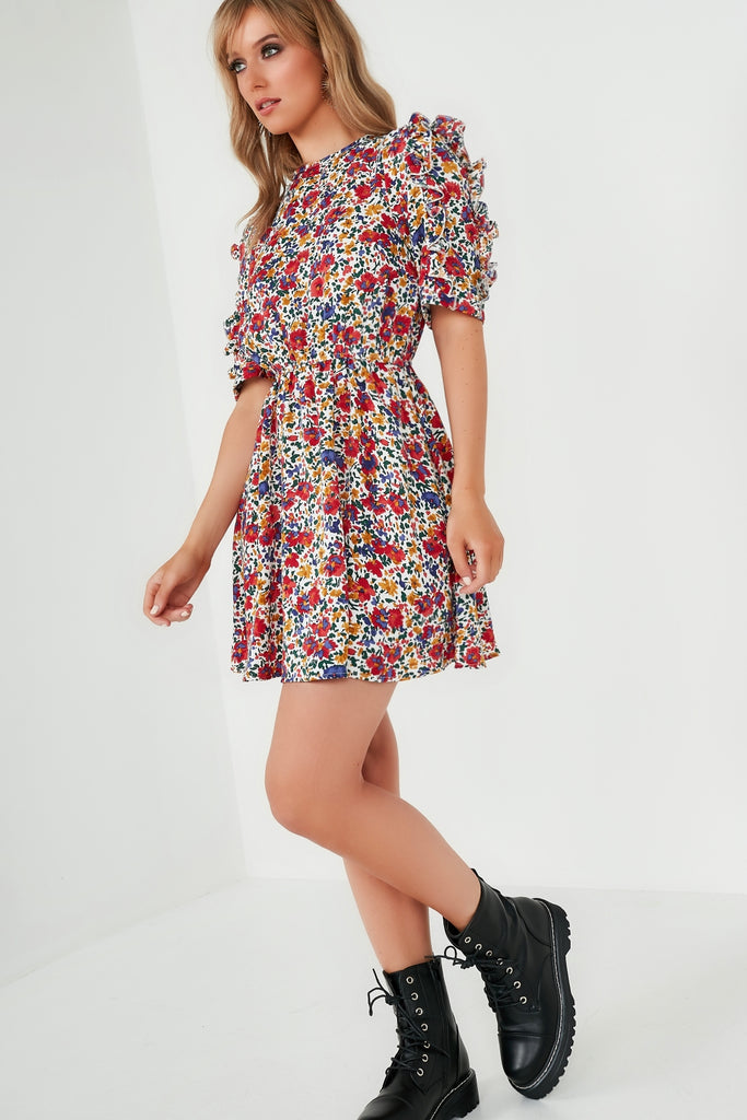 Hailey Red Floral Frill Sleeve Skater Dress