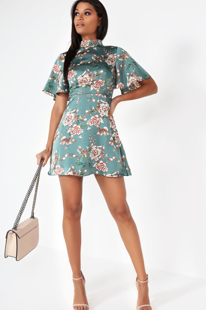Haley Green Floral Satin Dress