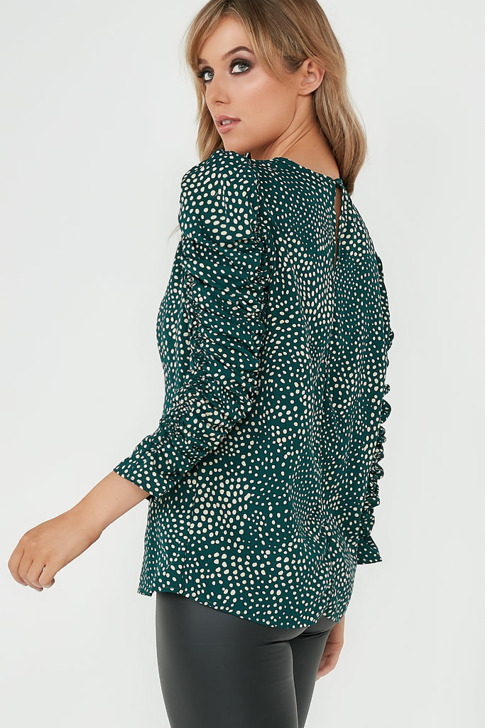 Hallie Green Spotty Frill Ruched Sleeve Top