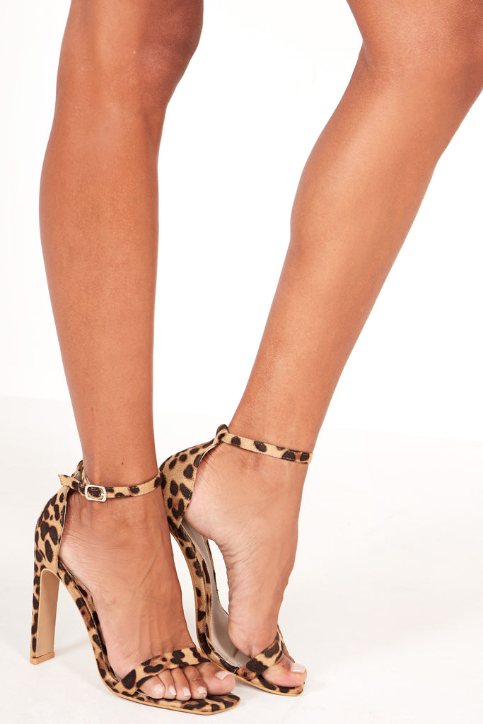 Halula Leopard Suedette Barely There Sandals